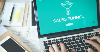 Sales funnel on laptop
